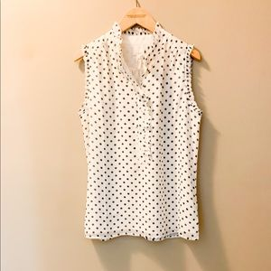 J. Crew Silk Black White Polka Dot Ruffle Tank Top
